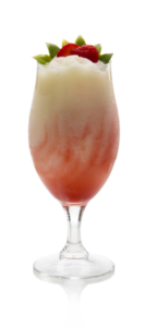 Lava Flow Ingredients: 1 oz white rum 3 oz Coco Reàl Cream of Coconut 3 oz pineapple juice 0.5 oz Finest Call Strawberry Puree