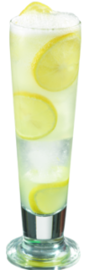 Cucumber Rosemary Lemonade Ingredients: 4 - cucumber slices 1 sprig rosemary 5 oz water 2 oz lemon juice 1 oz Agave Reàl