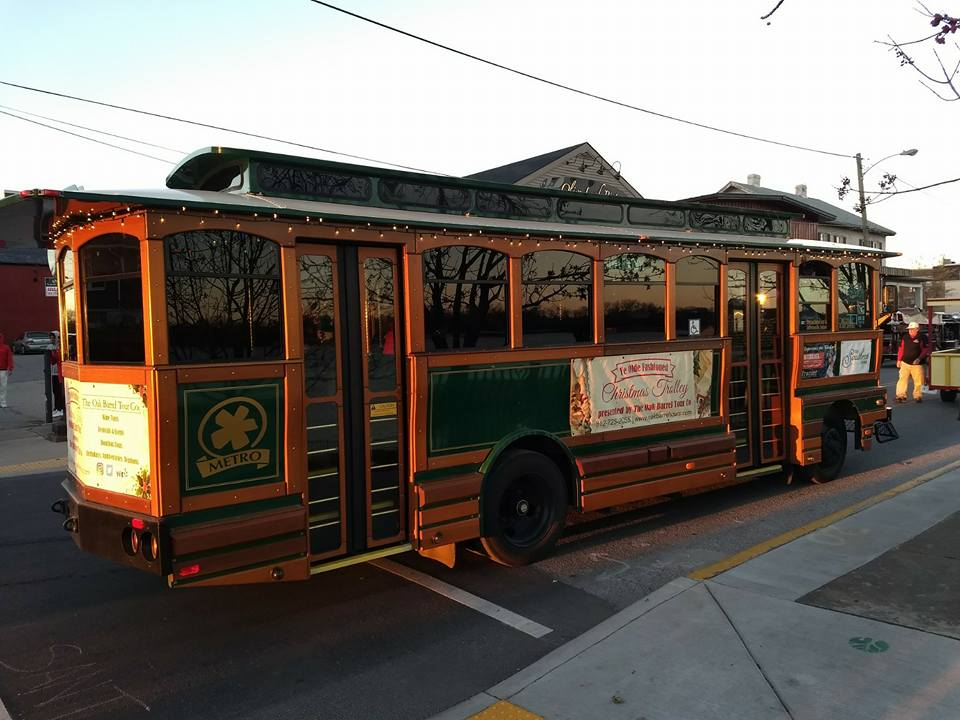 Christmas Trolley in Louisville for First Friday Hop