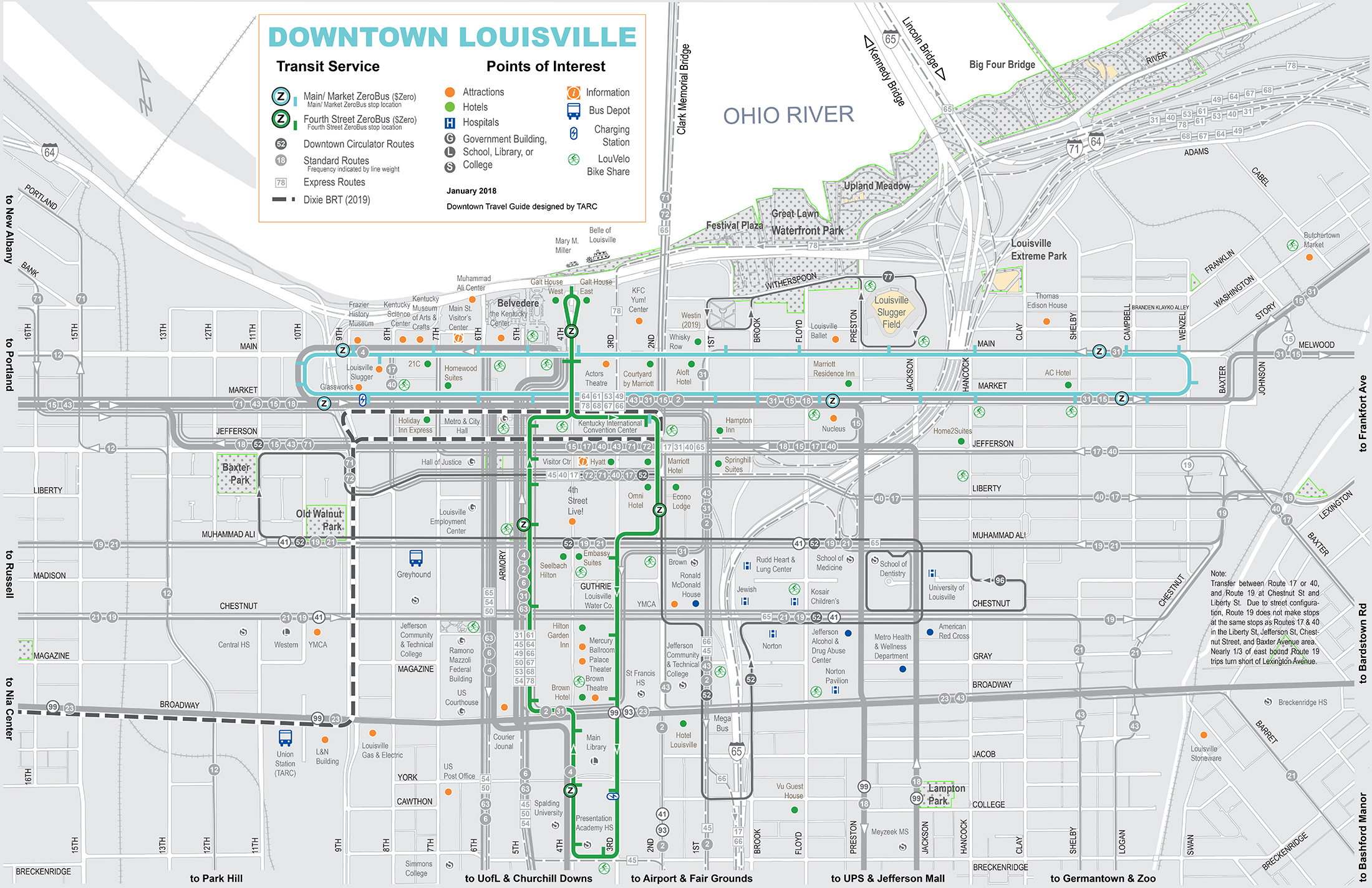 TARC Downtown Map 2018