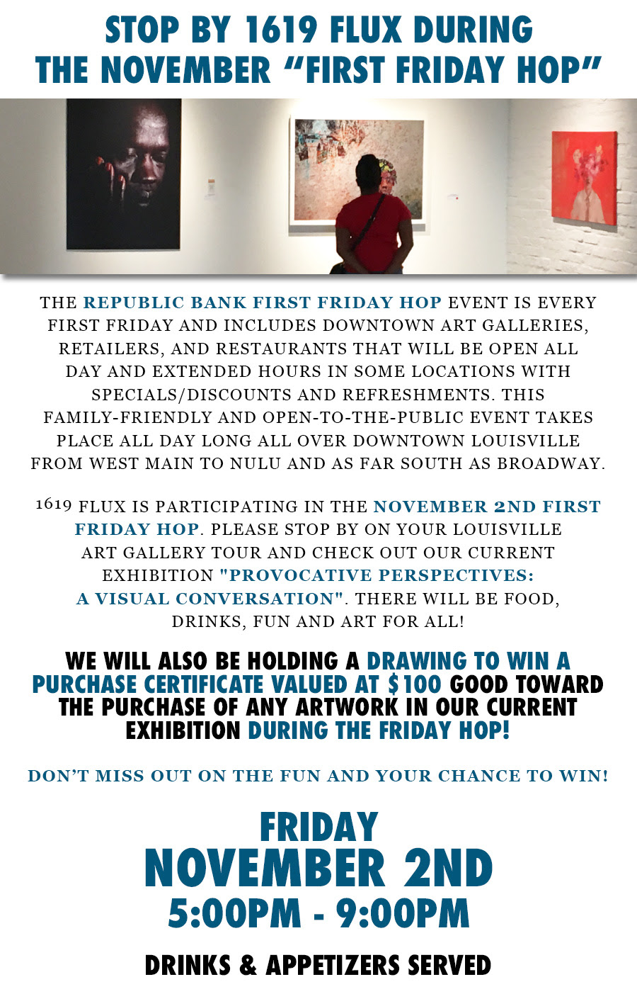 drawing to win art at 1619 flux on the republic bank first friday